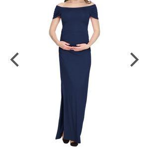 BlackCherry Short Sleeve Maternity Maxi Dress